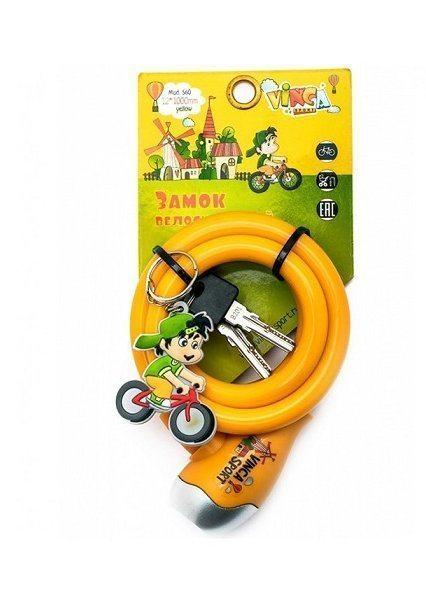 Замок велосипедный детский c брелоком 12*1000мм, желтый тросик инд. уп. Vinca Sport